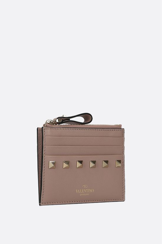 VALENTINO GARAVANI: Rockstud smooth leather card case Color Neutral_2