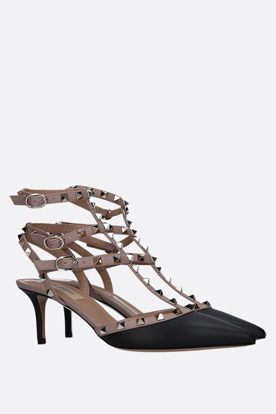 VALENTINO GARAVANI: Rockstud smooth leather slingbacks Color Black_2