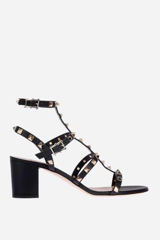 VALENTINO GARAVANI: Rockstud smooth leather sandals Color Black_1