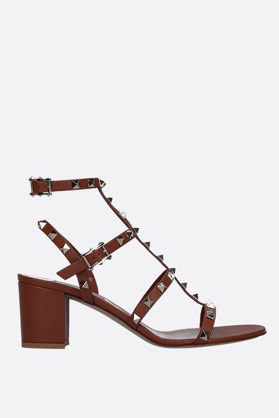 VALENTINO GARAVANI: Rockstud smooth leather sandals Color Brown_1