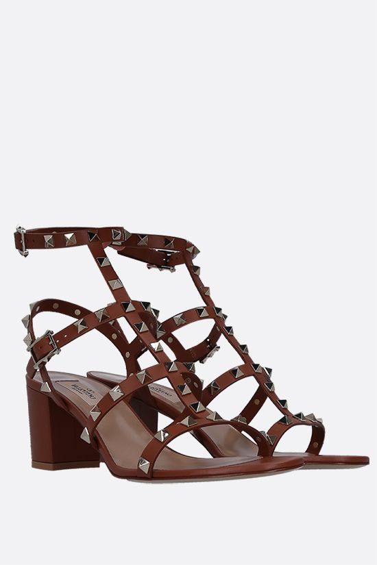 VALENTINO GARAVANI: Rockstud smooth leather sandals Color Brown_2