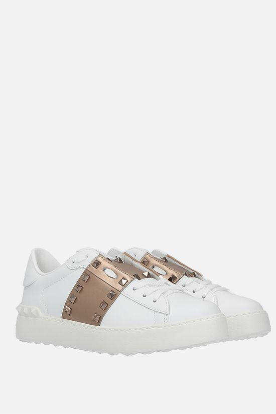 VALENTINO GARAVANI: Rockstud Untitled smooth leather sneakers Color White_2