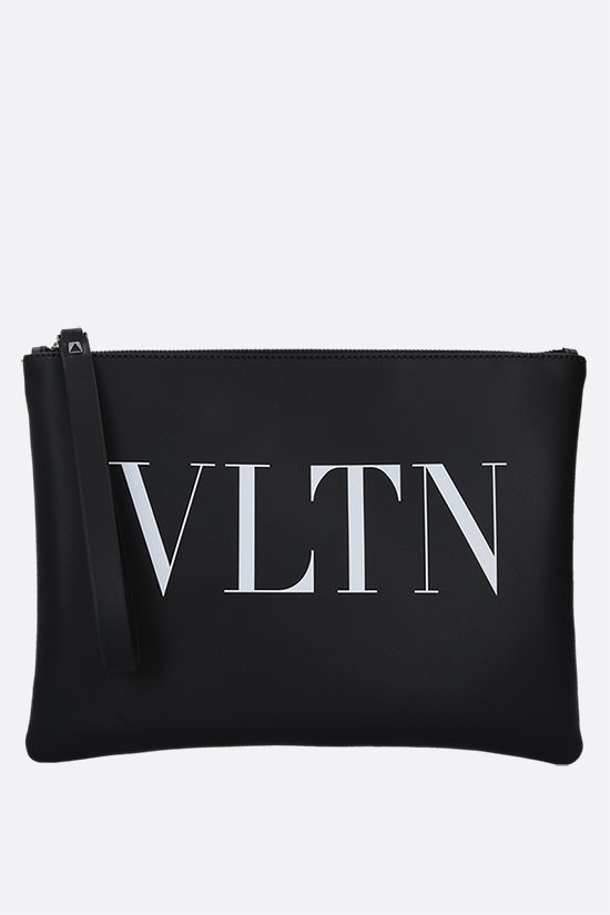 VALENTINO GARAVANI: VLTN smooth leather pouch Color Black_1
