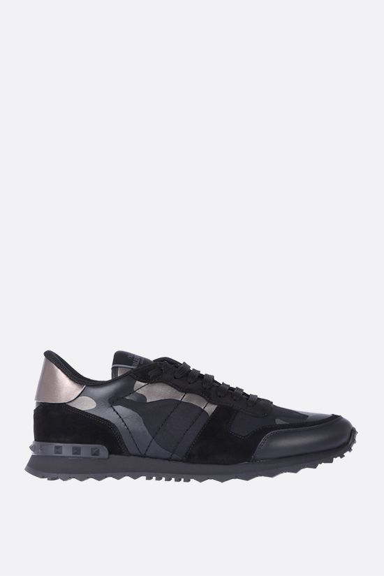 VALENTINO GARAVANI: Rockrunner Camouflage Noir canvas and nappa sneakers Color Black_1