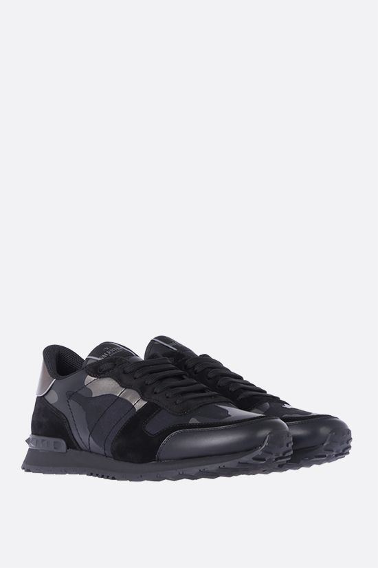 VALENTINO GARAVANI: Rockrunner Camouflage Noir canvas and nappa sneakers Color Black_2