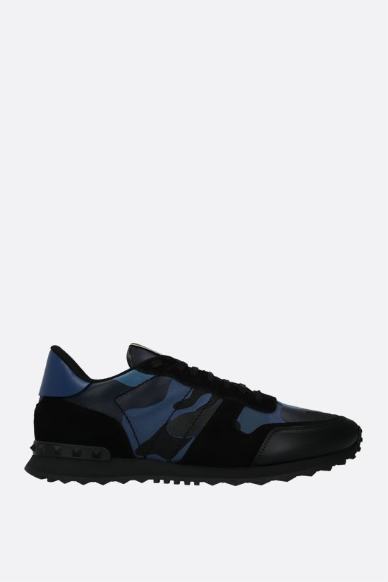 VALENTINO GARAVANI: Rockrunner Camouflage nappa and suede sneakers Color Blue_1