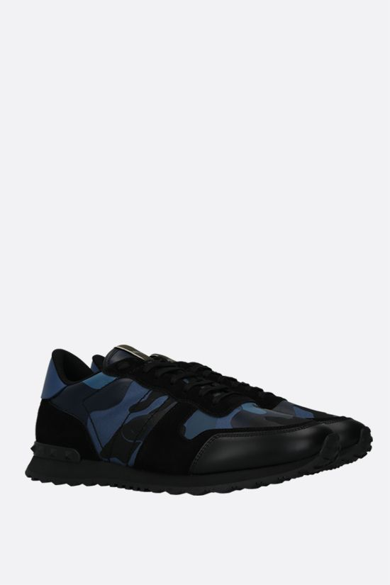 VALENTINO GARAVANI: Rockrunner Camouflage nappa and suede sneakers Color Blue_2