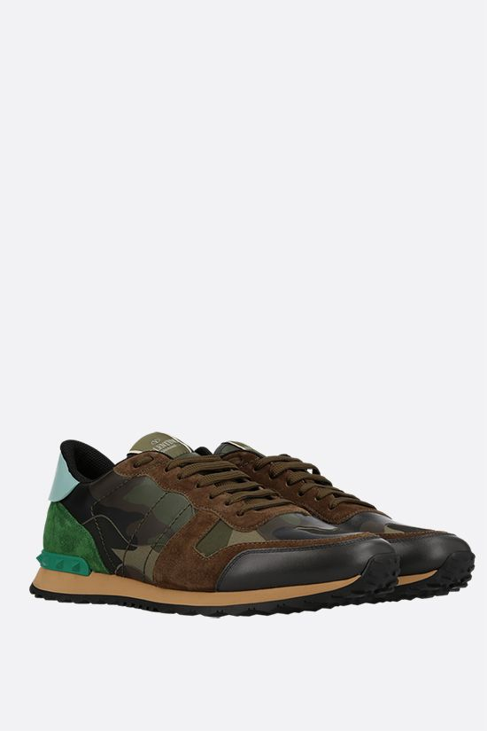 VALENTINO GARAVANI: Rockrunner Camouflage fabric and nappa sneakers Color Green_2