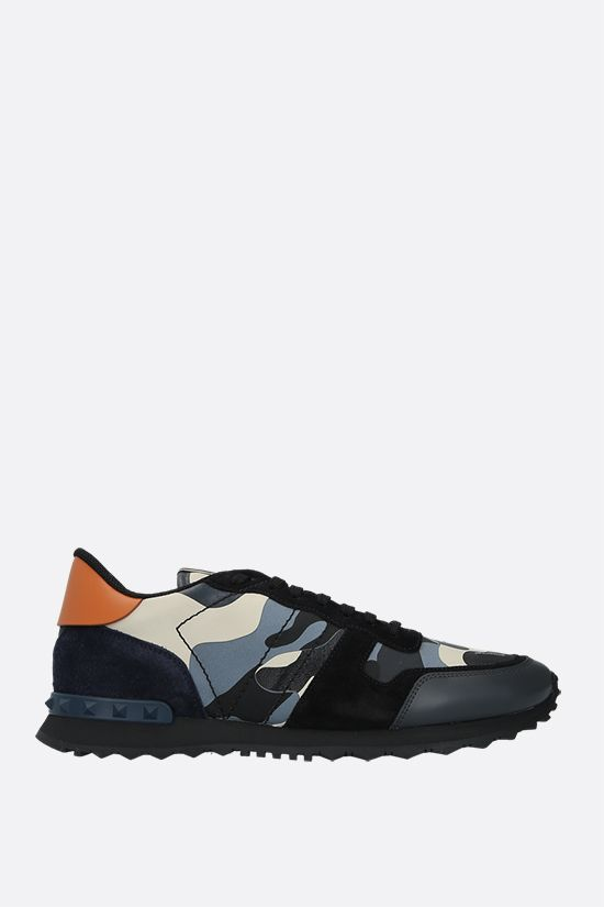 VALENTINO GARAVANI: Rockrunner Camouflage canvas and nappa sneakers Color Green_1