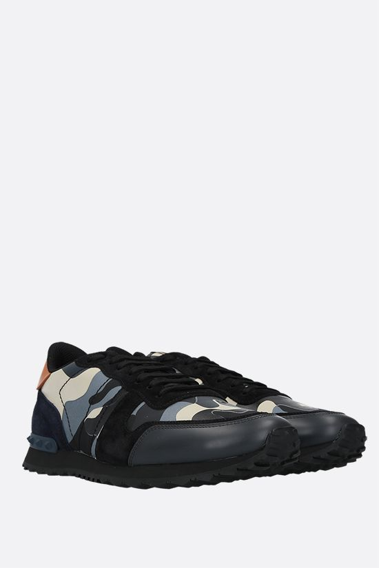 VALENTINO GARAVANI: Rockrunner Camouflage canvas and nappa sneakers Color Green_2