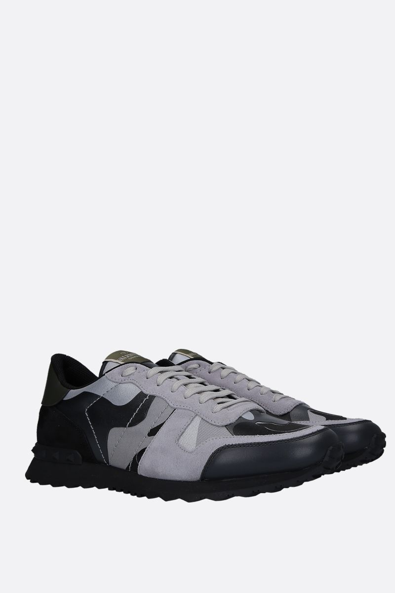 VALENTINO GARAVANI: Rockrunner Camouflage canvas and nappa sneakers Color Grey_2