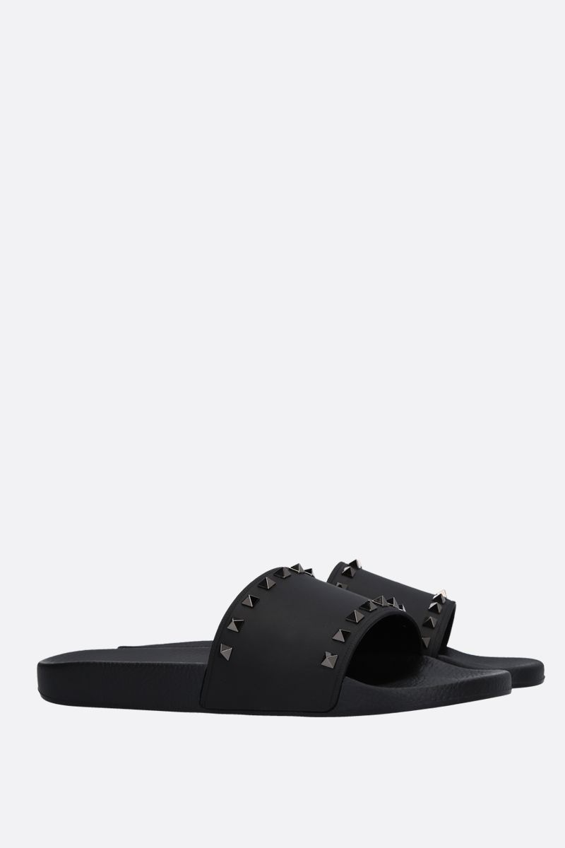 VALENTINO GARAVANI: Rockrunner rubber slide sandals Color Black_2
