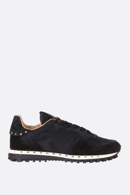 VALENTINO GARAVANI: Rockrunner nylon and suede sneakers Color Black_1