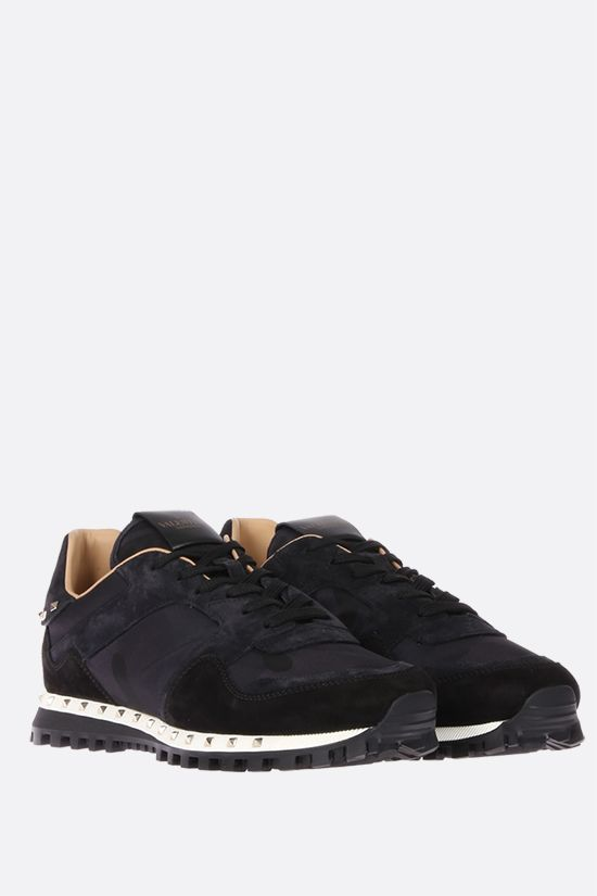 VALENTINO GARAVANI: Rockrunner nylon and suede sneakers Color Black_2