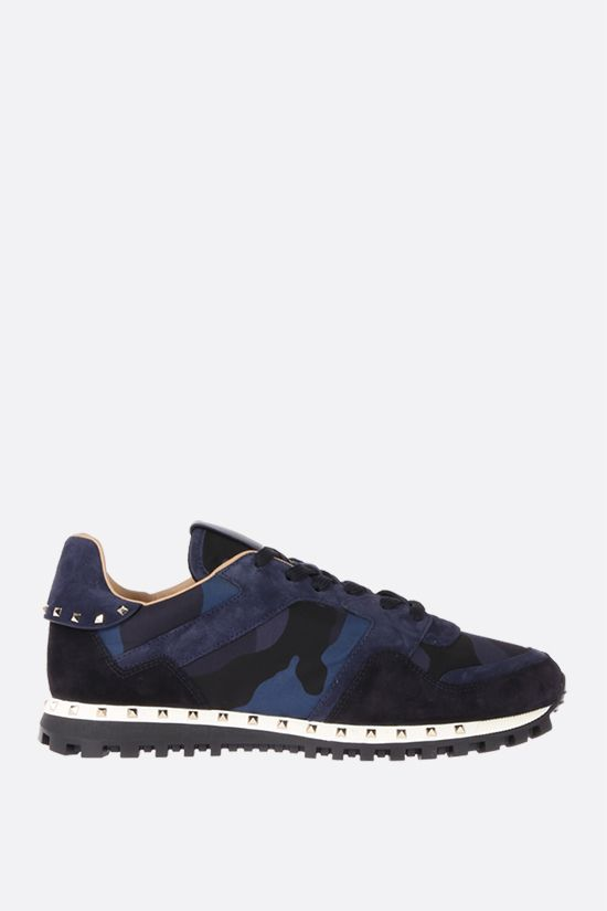 VALENTINO GARAVANI: Rockrunner nylon and suede sneakers Color Blue_1