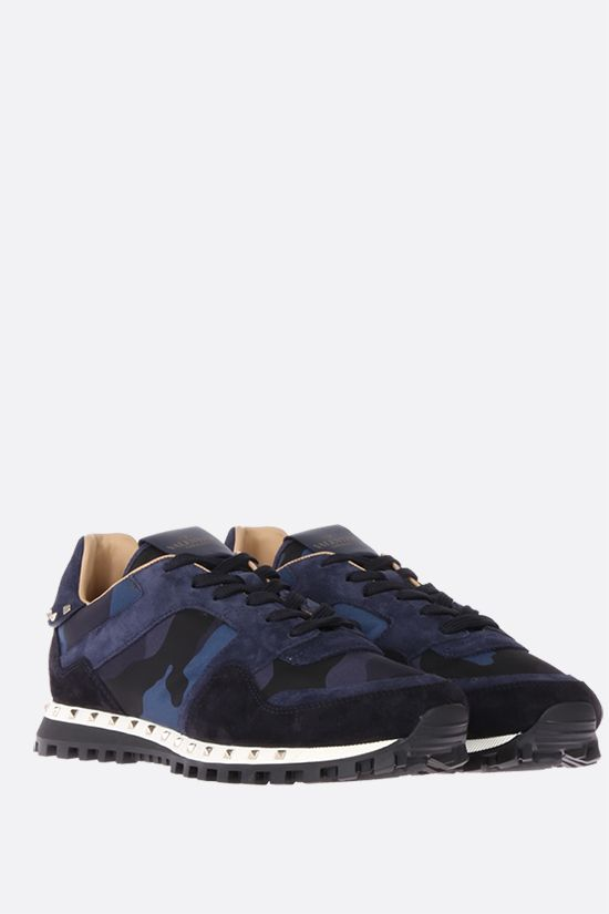 VALENTINO GARAVANI: Rockrunner nylon and suede sneakers Color Blue_2