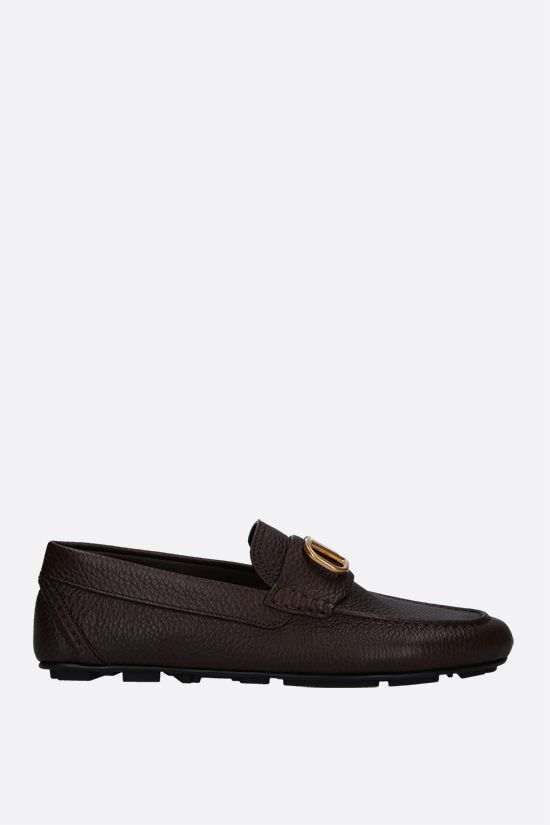 VALENTINO GARAVANI: VLOGO grainy leather driving shoes Color Brown_1