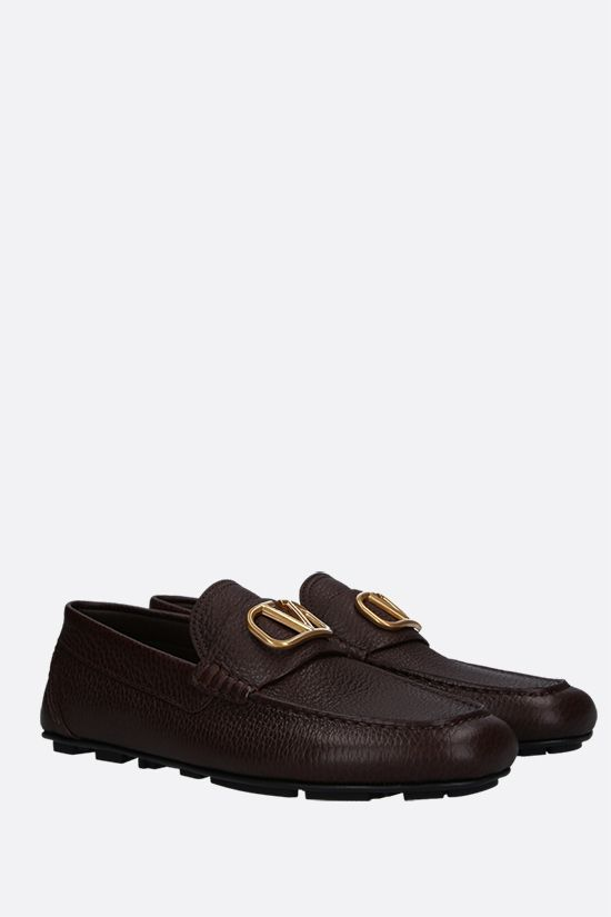 VALENTINO GARAVANI: VLOGO grainy leather driving shoes Color Brown_2