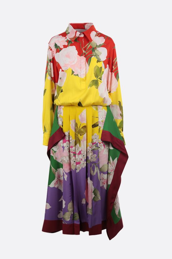 VALENTINO: Flying Flowers silk long dress Color Multicolor_1