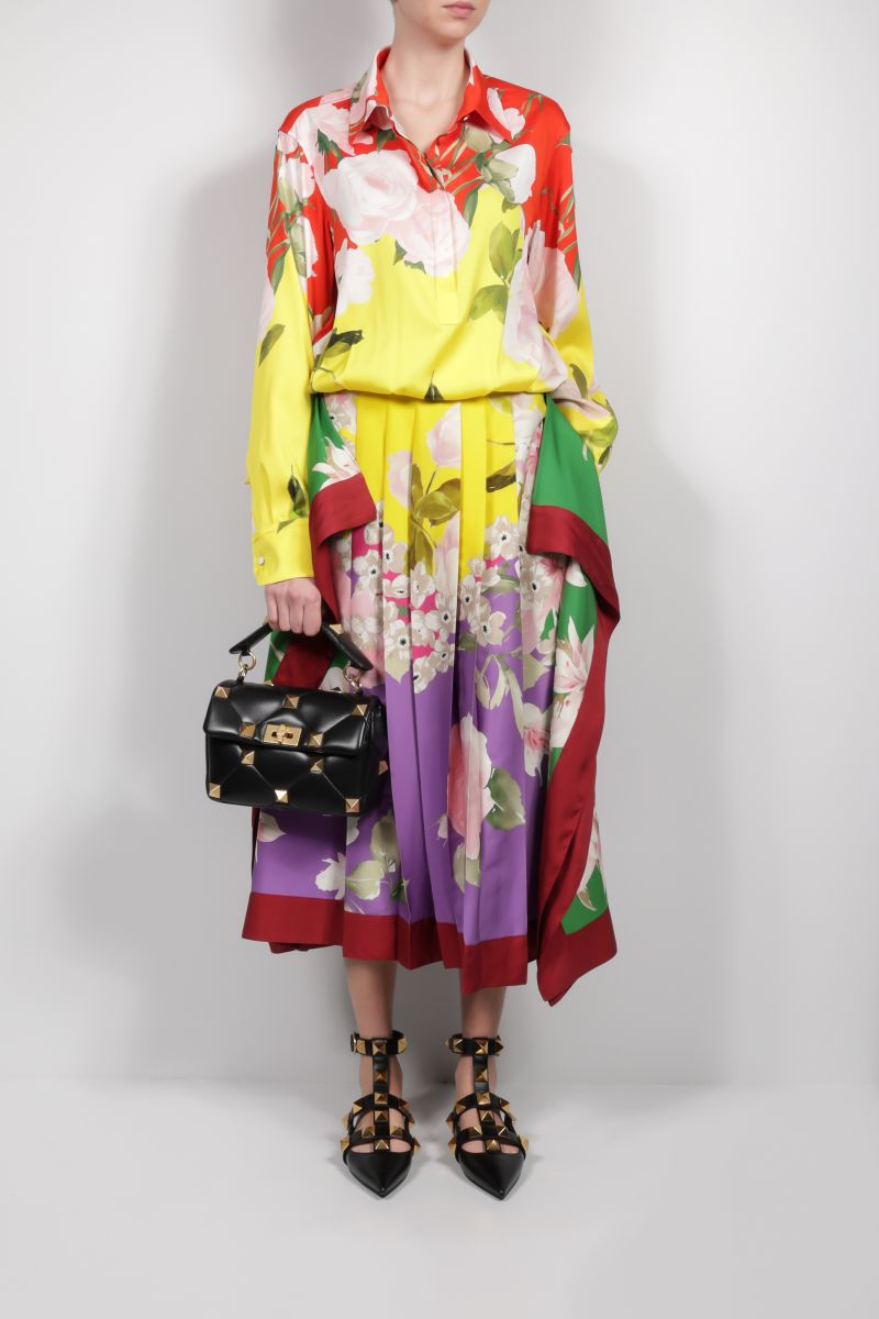 VALENTINO: Flying Flowers silk long dress Color Multicolor_2