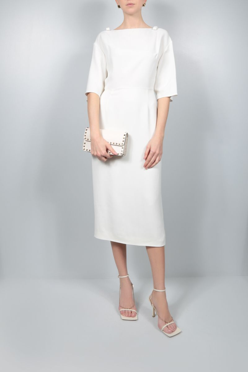 VALENTINO: bow-detailed cady pencil dress Color White_2