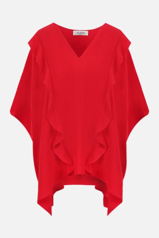 VALENTINO: frill-detailed silk cape-blouse Color Red_1
