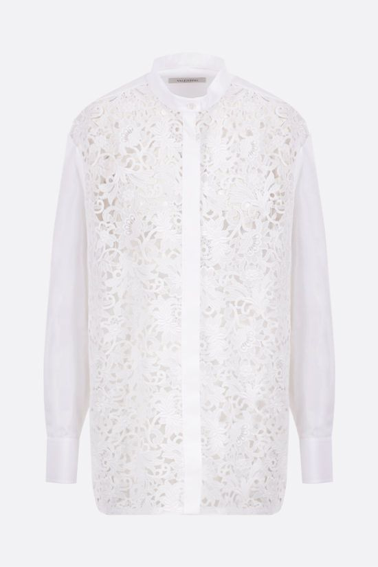 VALENTINO: lace and poplin oversize shirt Color White_1
