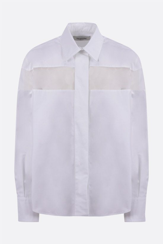 VALENTINO: organza-detailed cotton shirt Color White_1