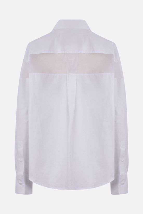 VALENTINO: organza-detailed cotton shirt Color White_2