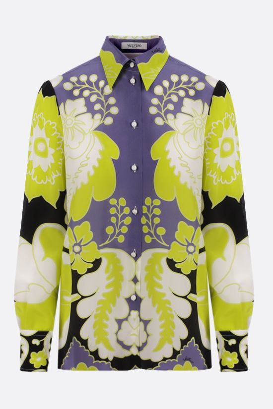 VALENTINO: World Arazzo print silk shirt Color Yellow_1