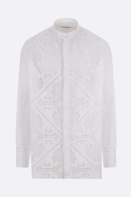 VALENTINO: oversize lace and poplin shirt Color White_1
