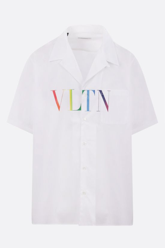 VALENTINO: VLTN Multicolor poplin bowling shirt Color White_1