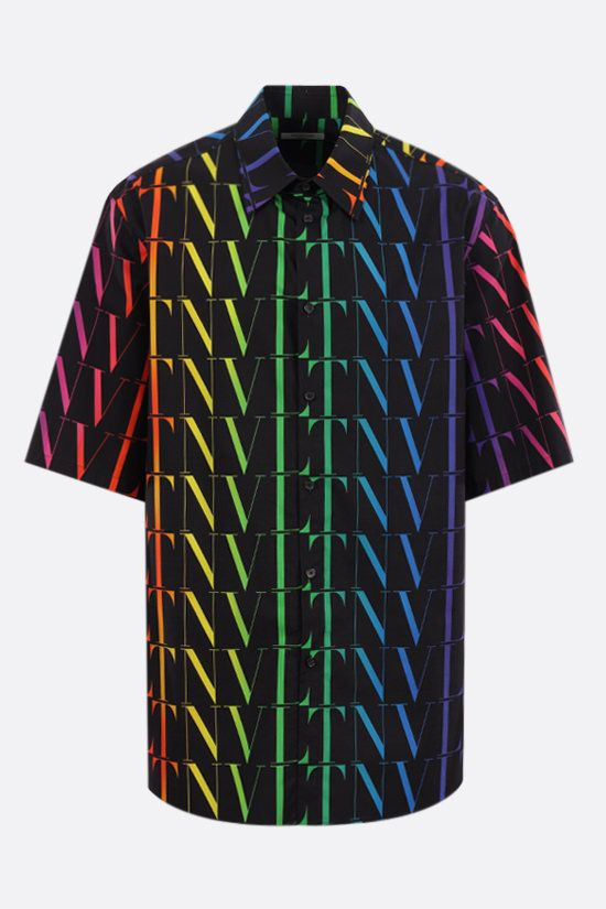 VALENTINO: VLTN TIMES print cotton bowling shirt Color Black_1
