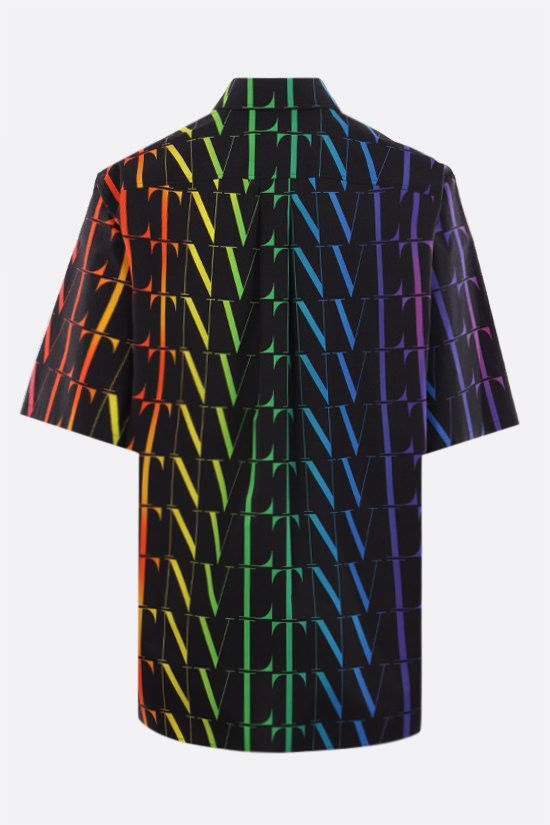 VALENTINO: VLTN TIMES print cotton bowling shirt Color Black_2