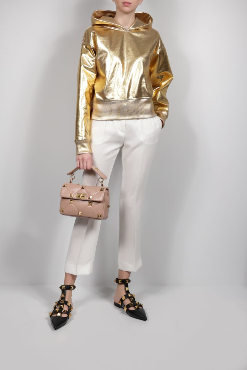 VALENTINO: coated jersey hoodie Color Gold_2