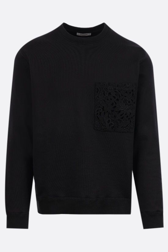 VALENTINO: jersey sweatshirt with lace pocket Color Black_1