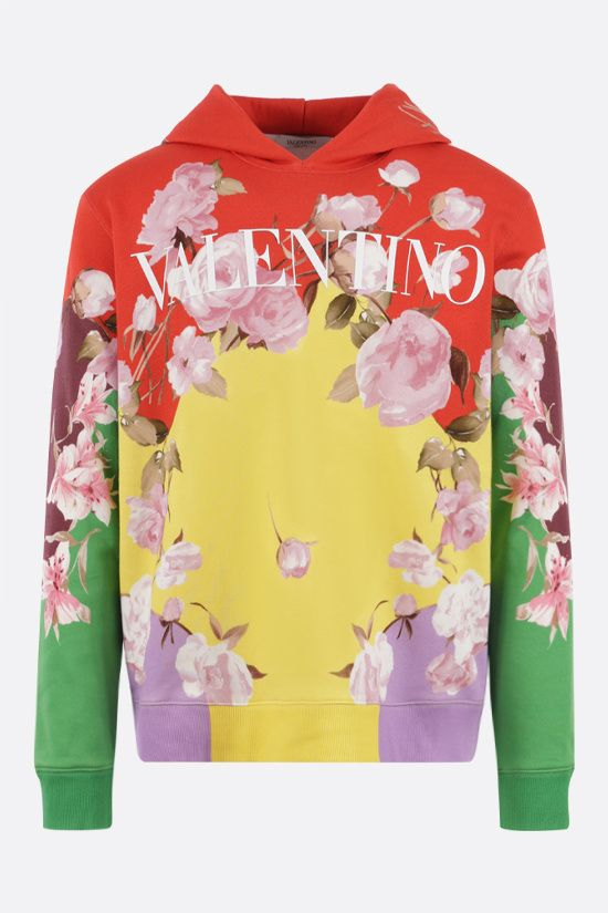 VALENTINO: Flying Flowers print jersey hoodie Color Multicolor_1