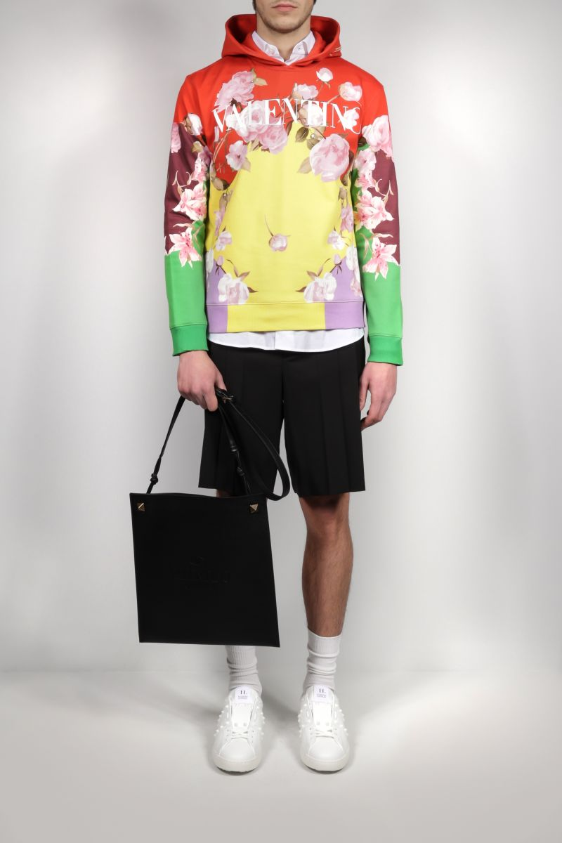 VALENTINO: Flying Flowers print jersey hoodie Color Multicolor_2