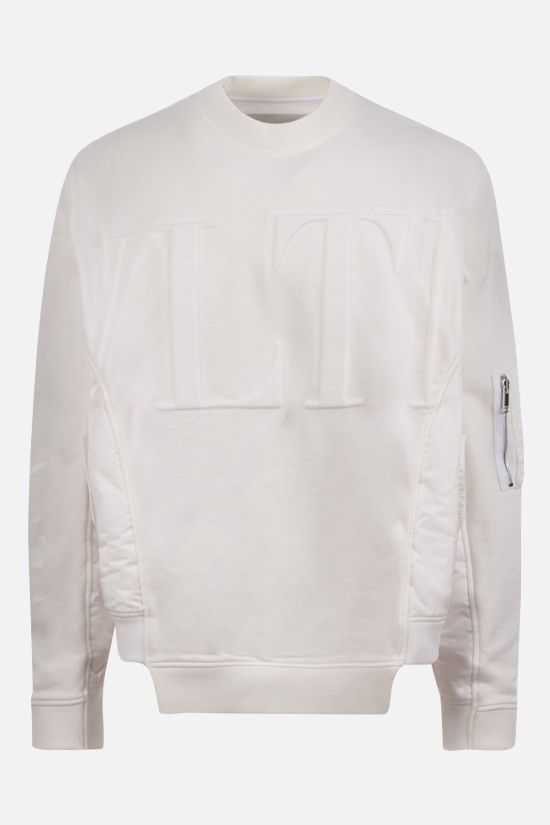 VALENTINO: oversize VLTN-detailed cotton and nylon sweatshirt Color White_1
