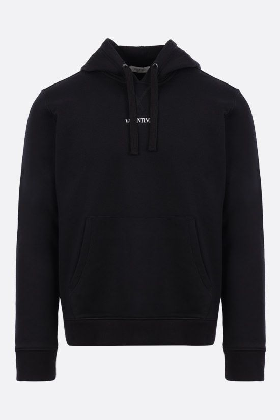 VALENTINO: Valentino print cotton blend hoodie Color Black_1