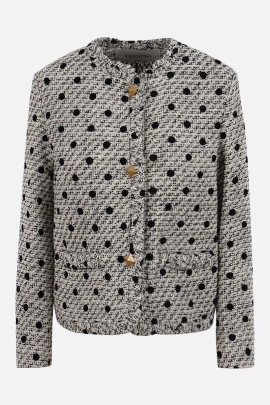 VALENTINO: single-breasted jacket in Tweed Pois Floquè Color Neutral_1