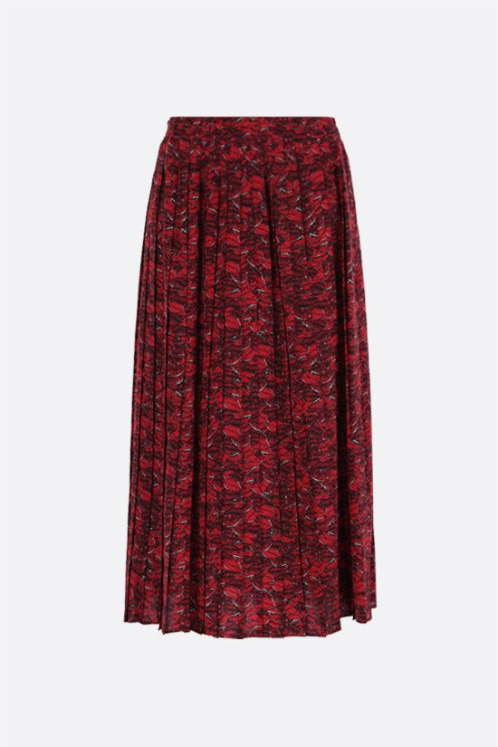VALENTINO: Le Rouge print crepe de chine pleated skirt Color Multicolor_1