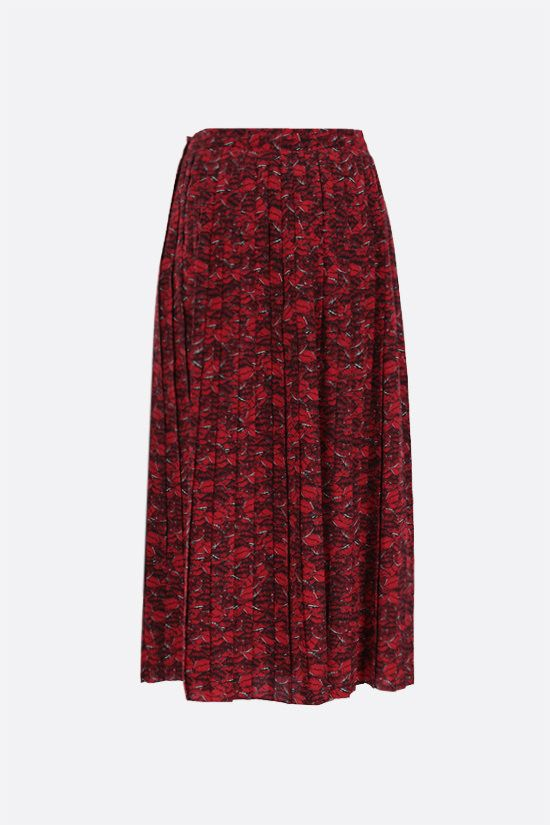 VALENTINO: Le Rouge print crepe de chine pleated skirt Color Multicolor_2