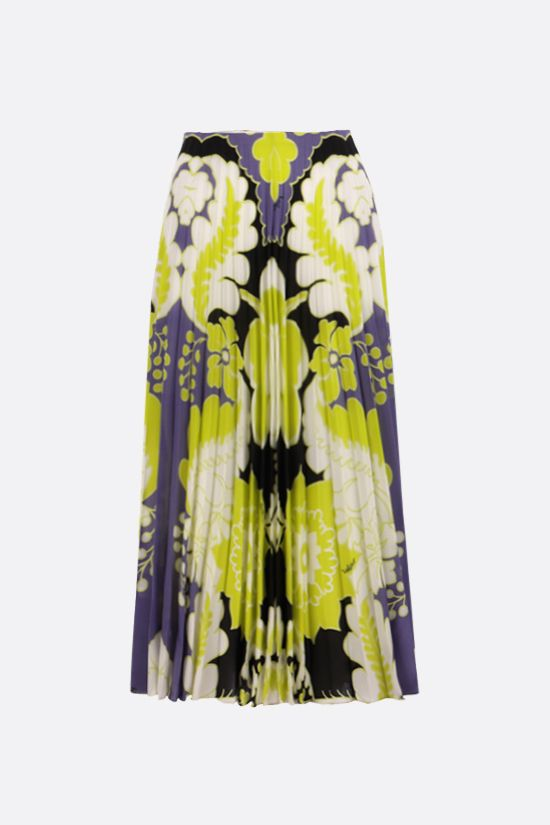 VALENTINO: World Arazzo print crepe de chine pleated skirt Color Multicolor_1