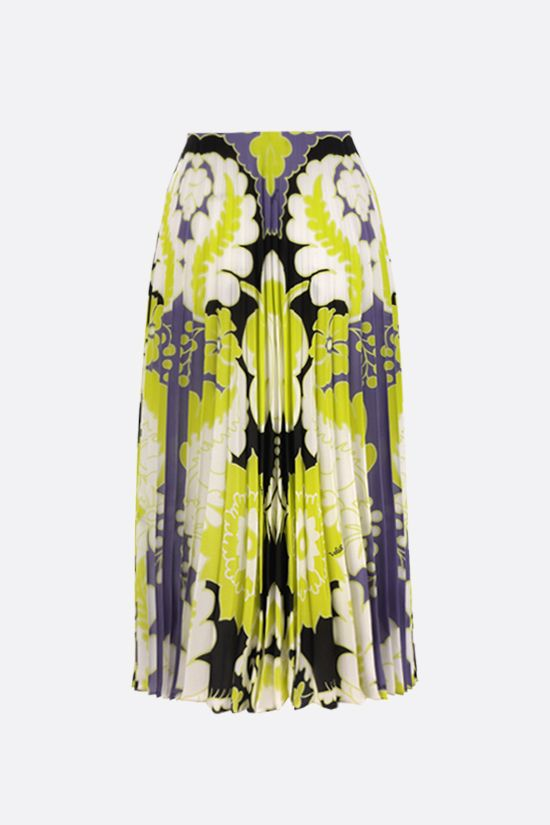 VALENTINO: World Arazzo print crepe de chine pleated skirt Color Multicolor_2