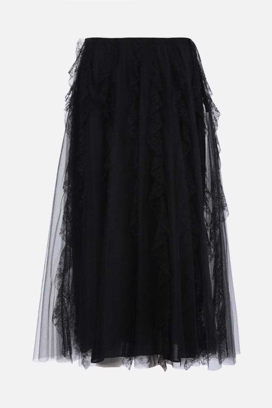 VALENTINO: lace-detailed tulle midi skirt Color Black_1
