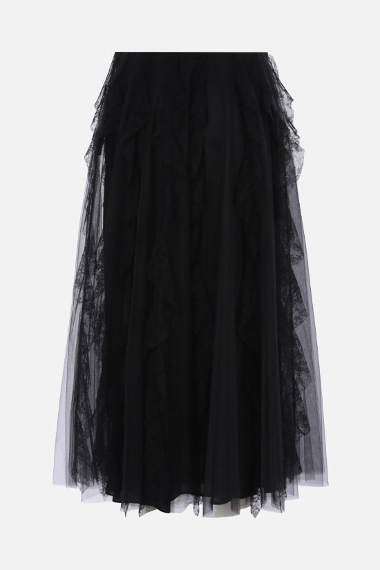 VALENTINO: lace-detailed tulle midi skirt Color Black_2