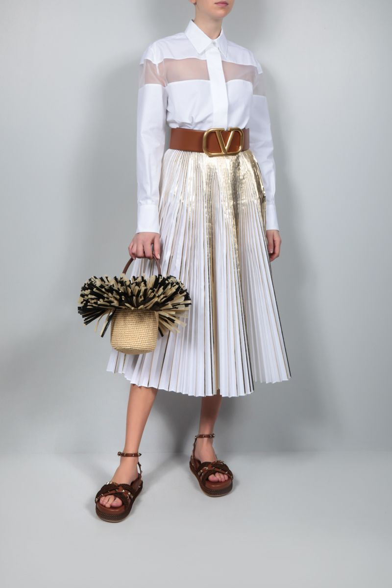 VALENTINO: technical cotton pleated skirt Color Gold_2