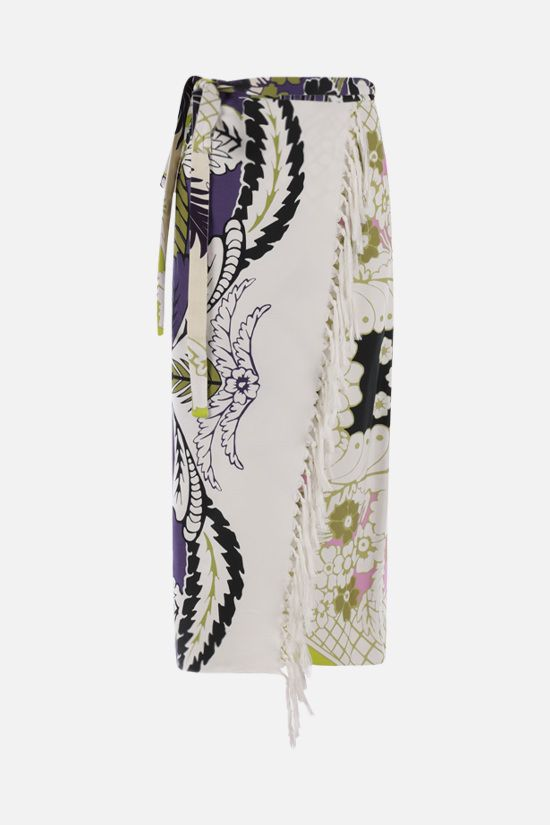 VALENTINO: Tropical World Arazzo print wrap cotton skirt Color Multicolor_1