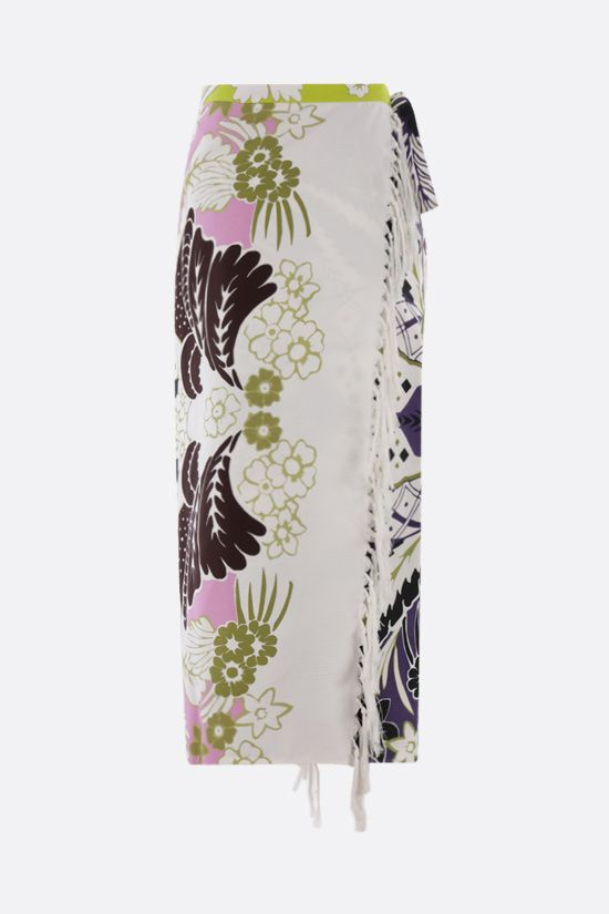 VALENTINO: Tropical World Arazzo print wrap cotton skirt Color Multicolor_2